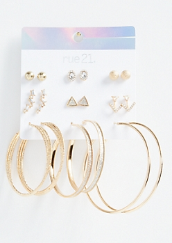 9-Pack Gold V Ear Crawler Earring Set
