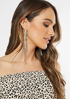 Silver Dangly Linear Statement Earrings