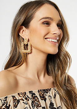 Gold Square Statement Earrings