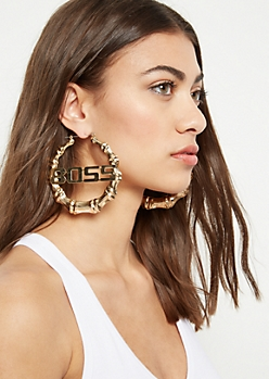 Gold Boss Statement Hoop Earrings