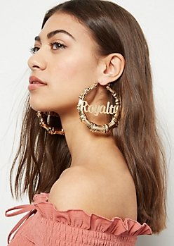 Gold Royalty Statement Hoop Earrings