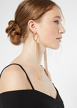 Gold Gem Fringe Hoop Earrings