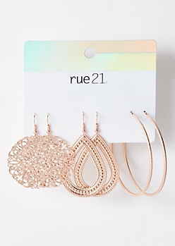 3-Pack Rose Gold Teardrop Filigree Earring Set