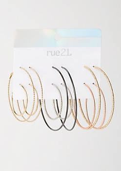 6-Pack Mixed Metal Hoop Earring Set
