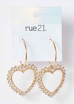 Gold Heart Charm Hoop Earrings