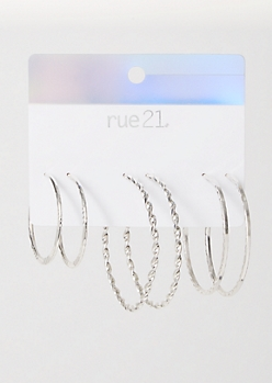 3-Pack Silver Textured Earring Set
