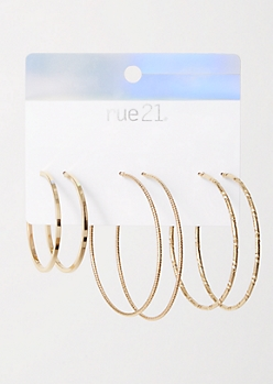 3-Pack Gold Textured  Earring Set