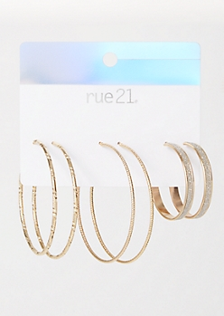 3-Pack Gold Textured Glitter Earring Set