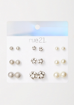 9-Pack Silver Textured Pearl Earring Set