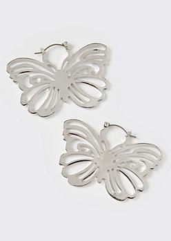 Silver Butterfly Statement Hoop Earrings