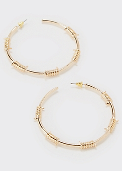 Gold Barbed Wire Hoop Earrings