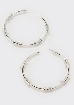 Silver Barbed Wire Hoop Earrings