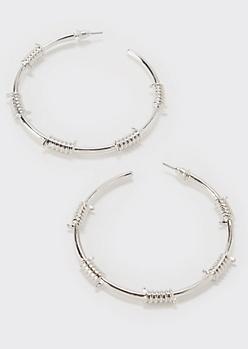 Silver Barbed Wire Hoop Earrings