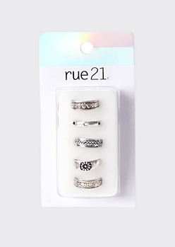 5-Pack Silver Star Toe Ring Set