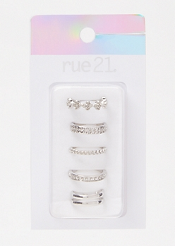 5-Pack Silver Rose Chain Toe Rings