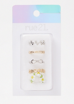 5-Pack Mixed Metal Infinity Daisy Toe Rings