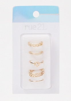 3-Pack Gold Daisy Rhinestone Toe Ring Set