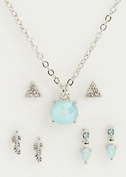 4-Pack Blue Gemstone Necklace and Earrings Set