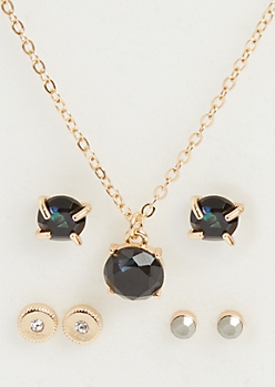 4-Pack Black Gemstone Necklace and Earrings Set