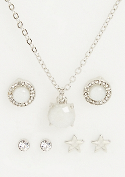 4-Pack White Gemstone Necklace and Earrings Set