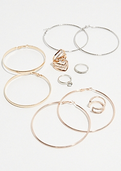 7-Pack Mixed Metal Skinny Hoop and Ring Set
