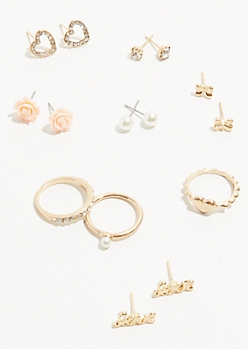 8-Pack Gold Rose Stud Earring and Ring Set