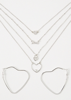 2-Pack Silver Heart Layered Jewelry Set