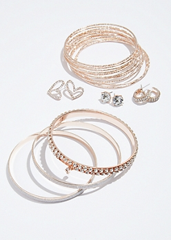16-Pack Heart Earring and Bangle Bracelet Set