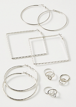9-Pack Silver Heart Square Jewelry Set