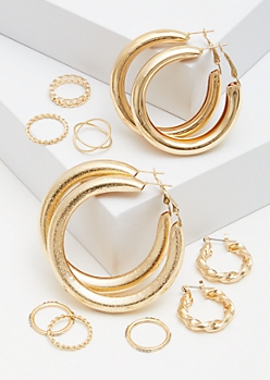 9-Pack Gold Braided Ring And Thick Hoop Earring Set