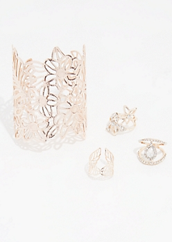 4-Pack Floral Filigree Cuff Bracelet and Ring Set