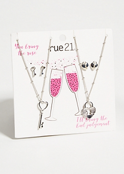 4-Pack Silver Lock And Key Matching Jewelry Set