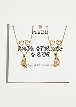 4-Pack Gold Best Friends Jewelry Set