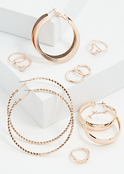 9-Pack Rose Gold Wide Hoop Jewelry Set