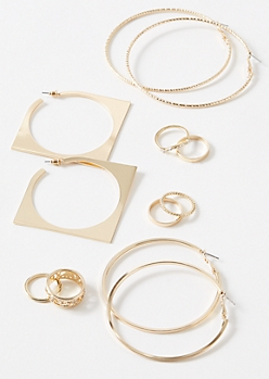9-Pack Gold Square Hoop Decorative Jewelry Set