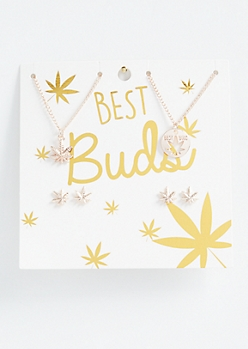 4-Pack Rose Gold Best Buds Weed Print Jewelry Set