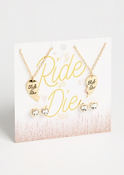 4-Pack Gold Ride Or Die BFF Jewelry Set