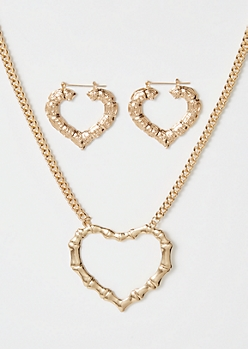 2-Pack Gold Chunky Heart Jewelry Set