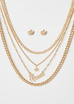 5-Pack Gold Queen Crown Jewelry Set