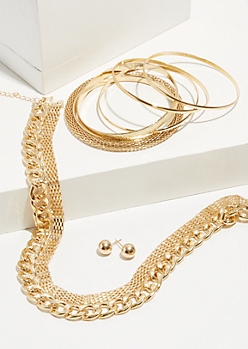 7-Pack Gold Chain Jewelry Set