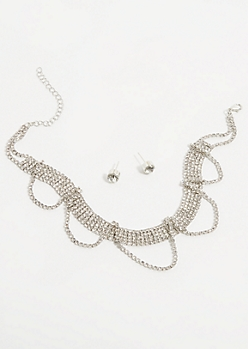 2-Pack Silver Scalloped Choker Jewelry Set
