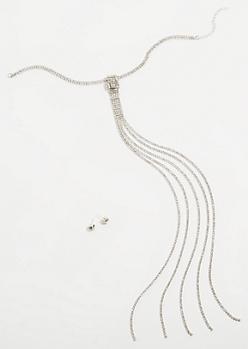 2-Pack Silver Tassel Choker Jewelry Set