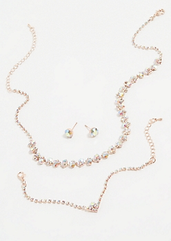 Rose Gold Iridescent Gem Jewelry Set