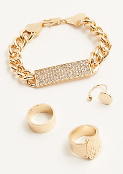 4 Pack Gold Bar Ring And Bracelet Set