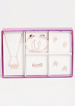 5-Pack Rose Gold Rhinestone Leaf Jewelry Set