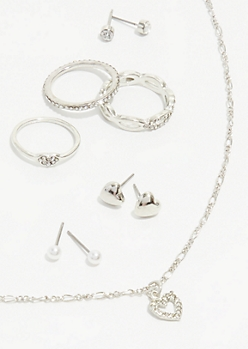 7-Pack Silver Heart Jewelry Set