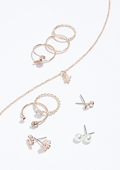 9-Pack Rose Gold Pearl Jewelry Set