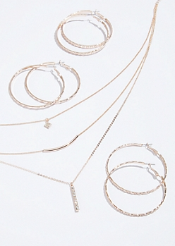 4-Pack Rose Gold Bar Hammered Hoop and Necklace Set
