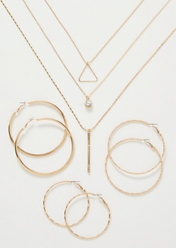 5-Pack Gold Gem Necklace and Hoop Earring Set