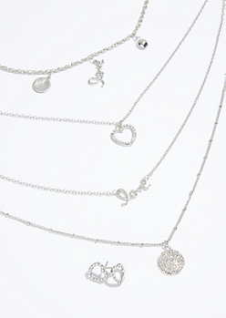 3-Pack Silver Heart Necklace and Stud Earring Set